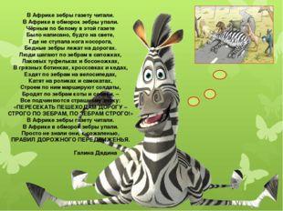 В Африке зебры газету читали. В Африке в обморок зебры упали. Чёрным по белом