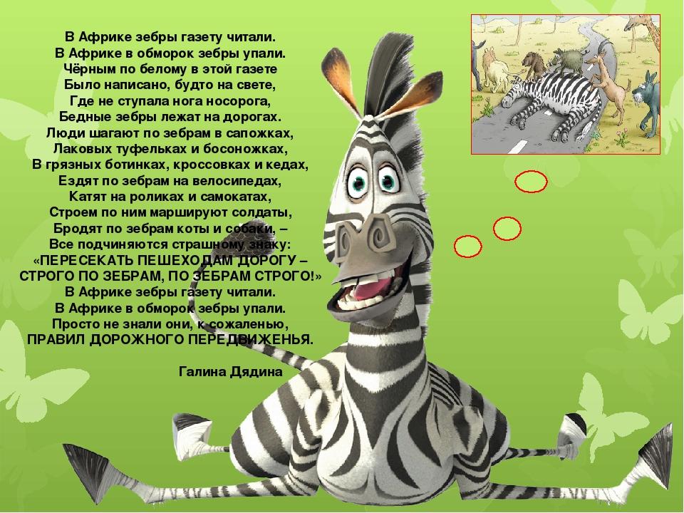 В Африке зебры газету читали. В Африке в обморок зебры упали. Чёрным по белом...