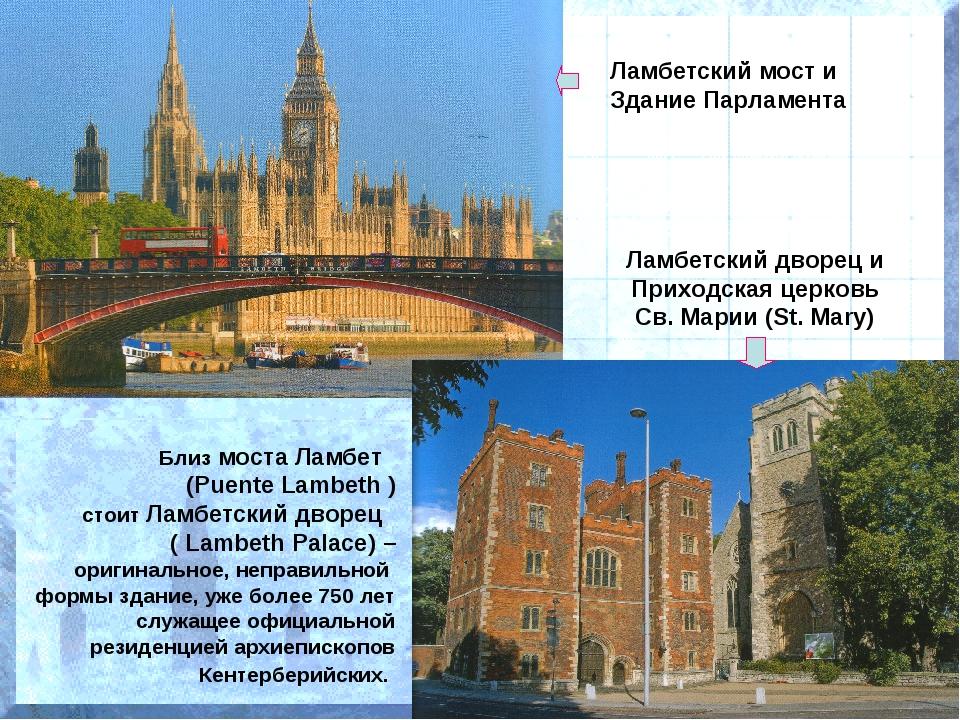 Ламбетский мост и Здание Парламента Ламбетский дворец и Приходская церковь Св...