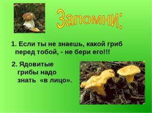 1. Если ты не знаешь, какой гриб перед тобой, - не бери его!!! 2. Ядовитые г