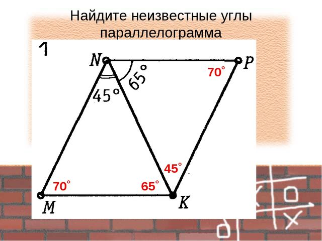 Найдите неизвестные углы параллелограмма 65˚ 45˚ 70˚ 70˚