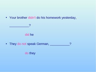 Your brother didn't do his homework yesterday, ___________?  did