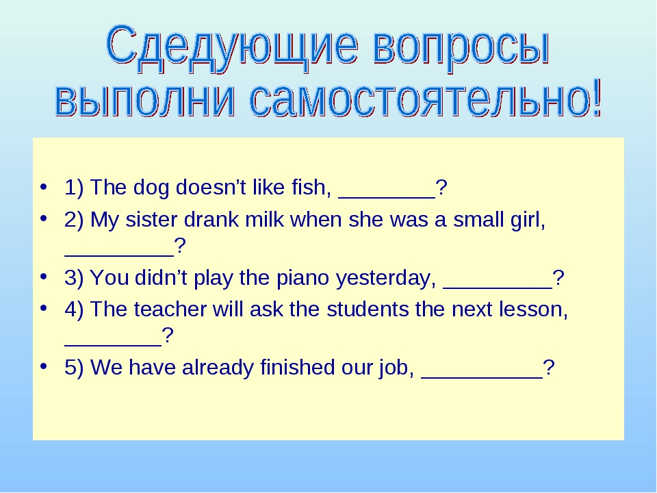 1) The dog doesn't like fish, ________? 2) My sister drank milk when she was...