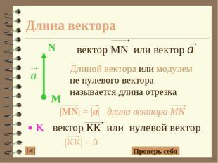 Длина вектора Длиной вектора или модулем не нулевого вектора называется длина