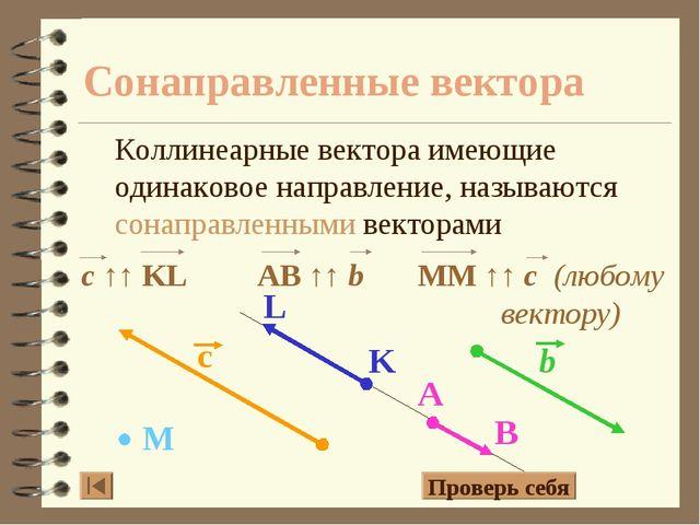 Сонаправленные вектора Коллинеарные вектора имеющие одинаковое направление, н...