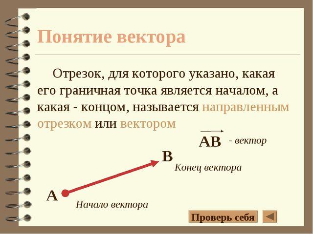 Понятие вектора Отрезок, для которого указано, какая его граничная точка явля...