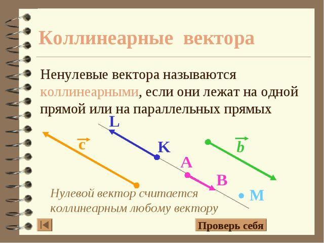 Нулевой вектор считается коллинеарным любому вектору Коллинеарные вектора Нен...