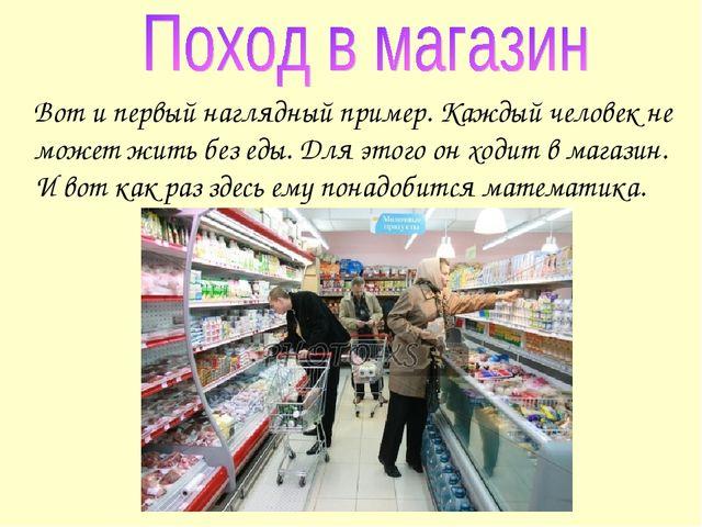 Вот и первый наглядный пример. Каждый человек не может жить без еды. Для это...