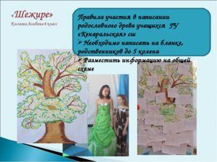 Правила участия в написании родословного древа учащихся ГУ «Кенаральская» сш