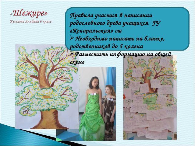 Правила участия в написании родословного древа учащихся ГУ «Кенаральская» сш...