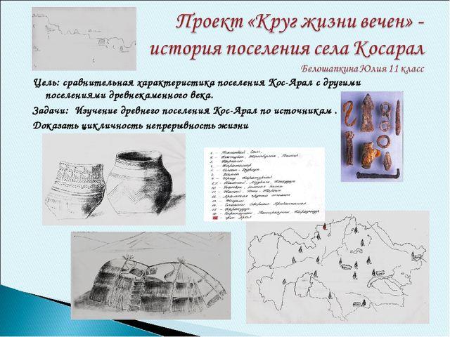 Цель: сравнительная характеристика поселения Кос-Арал с другими поселениями д...
