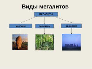 Виды мегалитов дольмены МЕГАЛИТЫ менгиры кромлехи