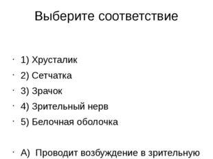 Выберите соответствие  1) Хрусталик 2) Сетчатка 3) Зрачок 4) Зрительный нерв