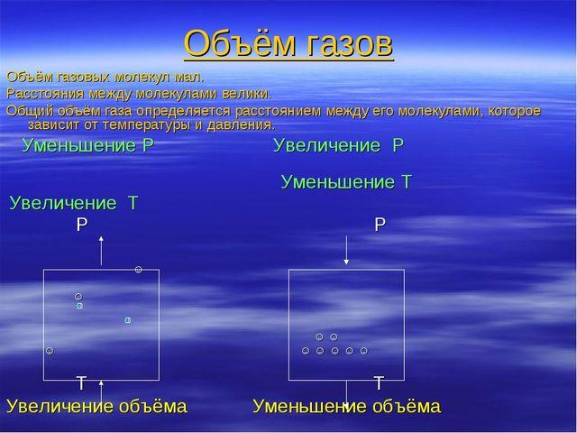 Объём газов Объём газовых молекул мал. Расстояния между молекулами велики. Об...