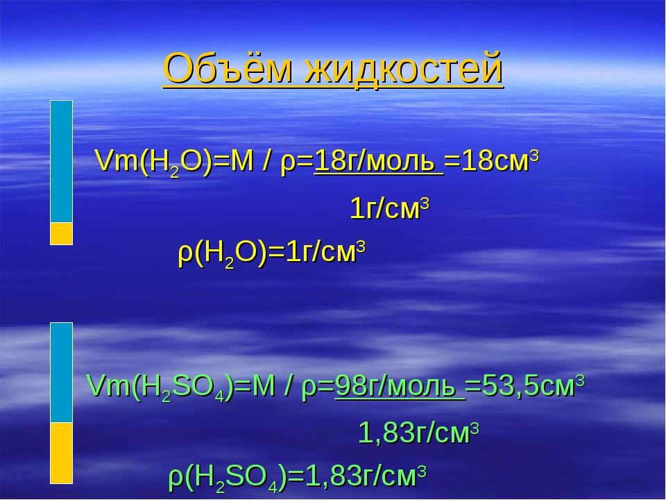 Объём жидкостей Vm(H2O)=M / ρ=18г/моль =18см3 1г/см3 ρ(H2O)=1г/см3 Vm(H2SO4)=...