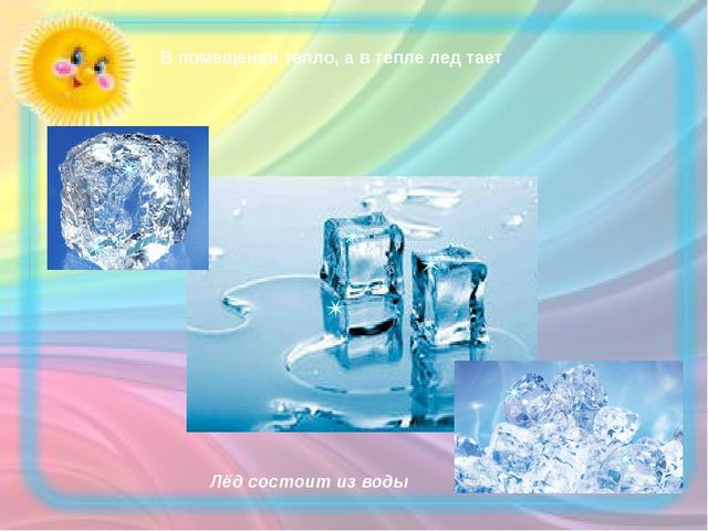 В помещении тепло, а в тепле лед тает Лёд состоит из воды