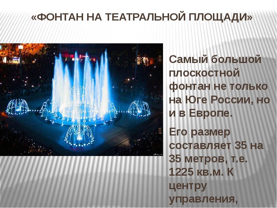«ФОНТАН НА ТЕАТРАЛЬНОЙ ПЛОЩАДИ» Самый большой плоскостной фонтан не только на...