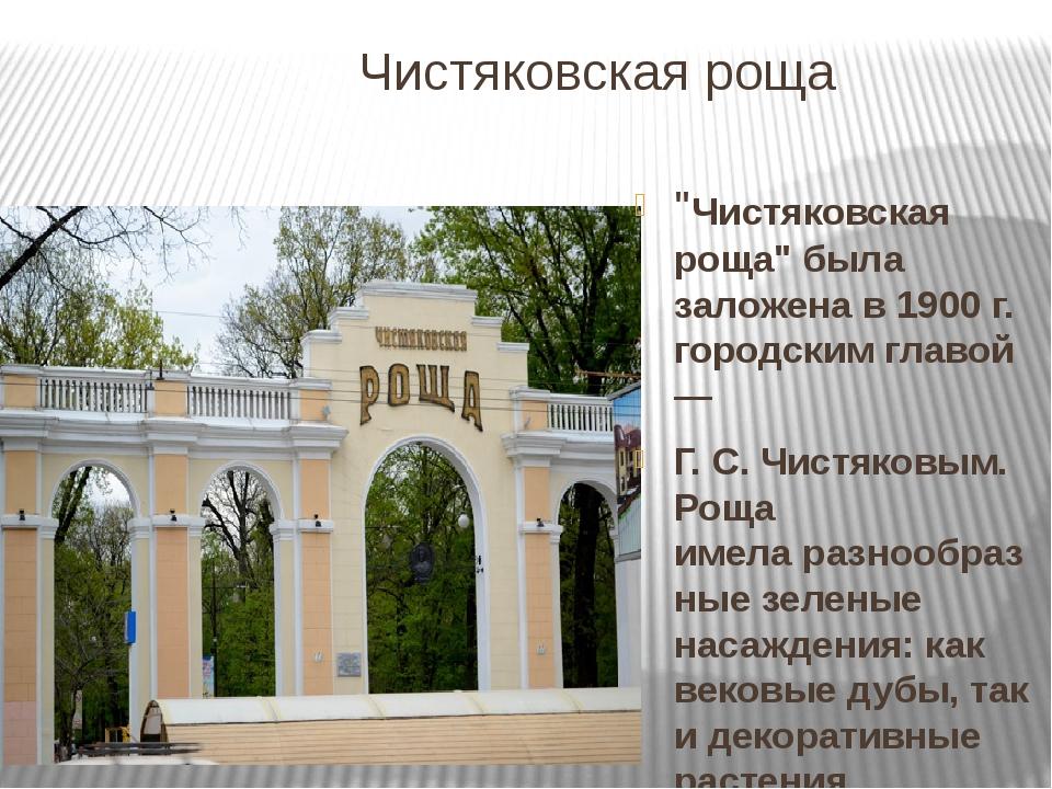 """Чистяковская роща """"Чистяковская роща"""" была заложена в 1900 г. городским главо..."""