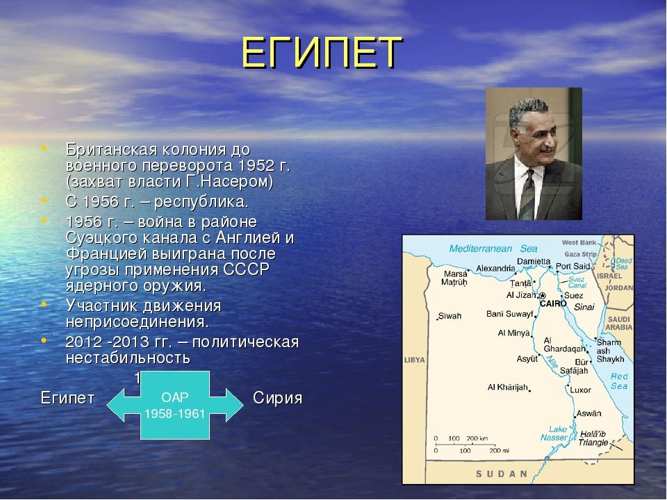 ЕГИПЕТ Британская колония до военного переворота 1952 г. (захват власти Г.На...