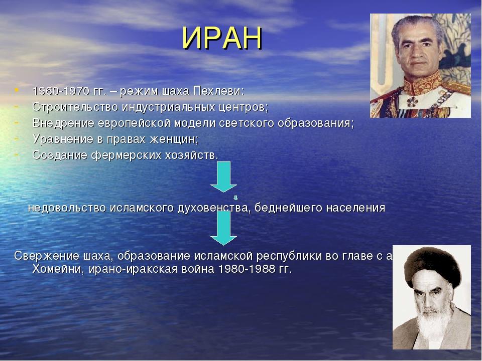 ИРАН 1960-1970 гг. – режим шаха Пехлеви: Строительство индустриальных центро...