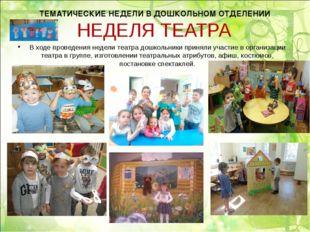 НЕДЕЛЯ ТЕАТРА В ходе проведения недели театра дошкольники приняли участие в о