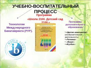 УЧЕБНО-ВОСПИТАТЕЛЬНЫЙ ПРОЦЕСС Программа «Школа 2100. Детский сад 2100.» Техно