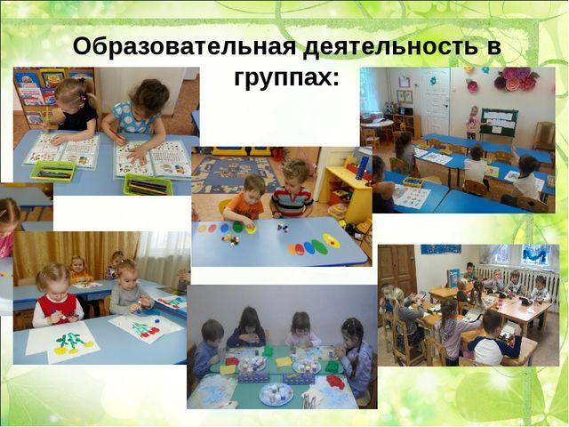 Образовательная деятельность в группах: