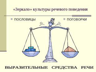 «Зеркало» культуры речевого поведения ПОСЛОВИЦЫ ПОГОВОРКИ