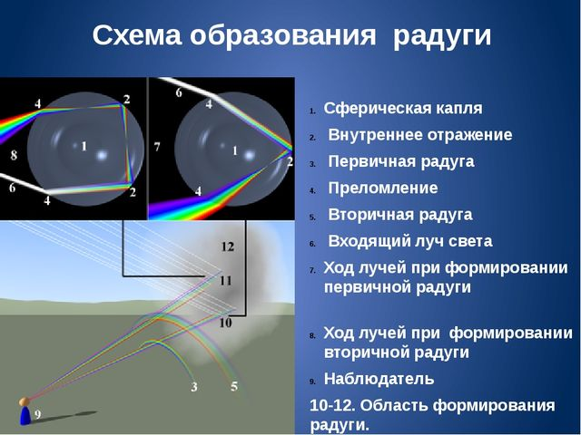 Схема образования радуги Сферическая капля Внутреннее отражение Первичная рад...
