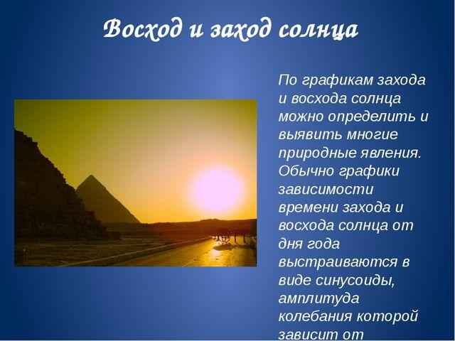Восход и заход солнца По графикам захода и восхода солнца можно определить и...