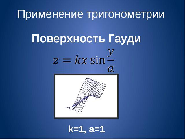 Применение тригонометрии Поверхность Гауди k=1, a=1
