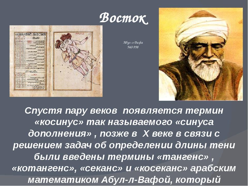 Восток Спустя пару веков появляется термин «косинус» так называемого «синуса...
