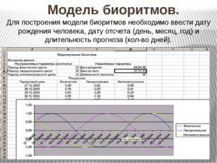 Модель биоритмов. Для построения модели биоритмов необходимо ввести дату рожд
