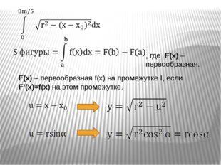F(x) – первообразная f(x) на промежутке I, если F'(x)=f(x) на этом промежутке