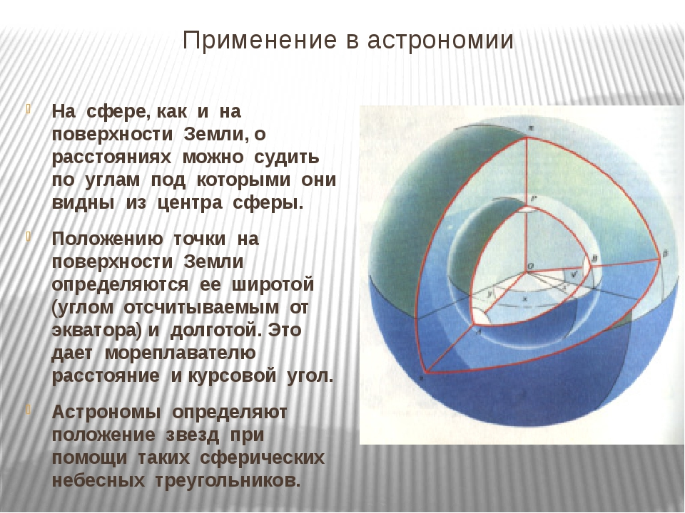 Применение в астрономии На сфере, как и на поверхности Земли, о расстояниях м...
