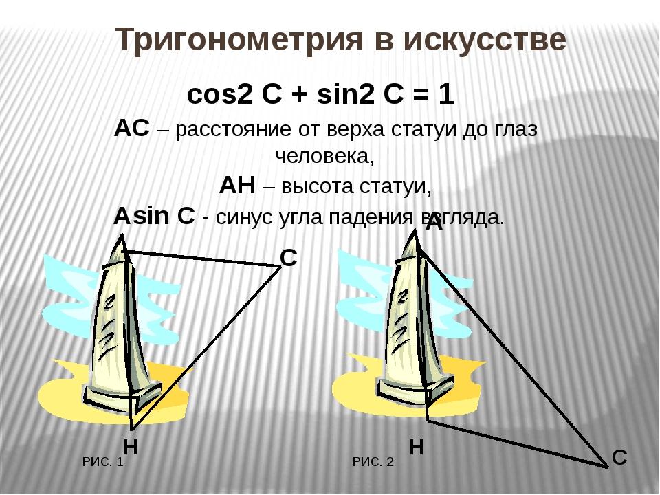 С А Н РИС. 1 С РИС. 2 Н cos2 С + sin2 С = 1 АС – расстояние от верха статуи...