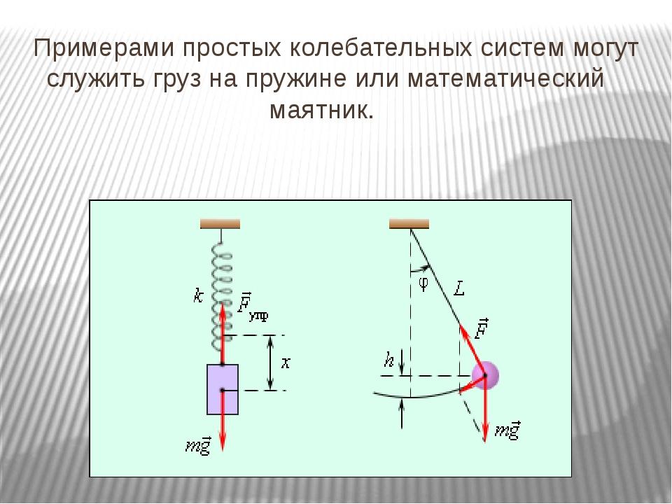 Примерами простых колебательных систем могут служить груз на пружине или мат...