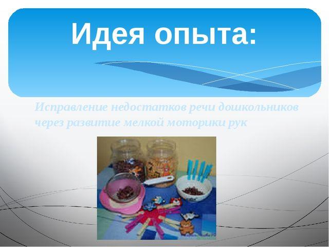 Исправление недостатков речи дошкольников через развитие мелкой моторики рук...