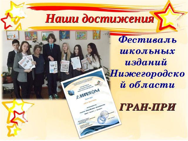 Наши достижения Фестиваль школьных изданий Нижегородской области ГРАН-ПРИ