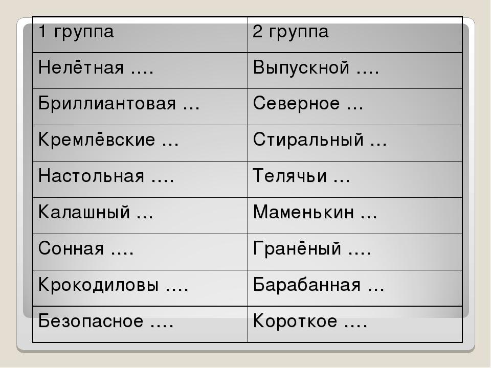 1 группа2 группа Нелётная ….Выпускной …. Бриллиантовая …Северное … Кремлёв...