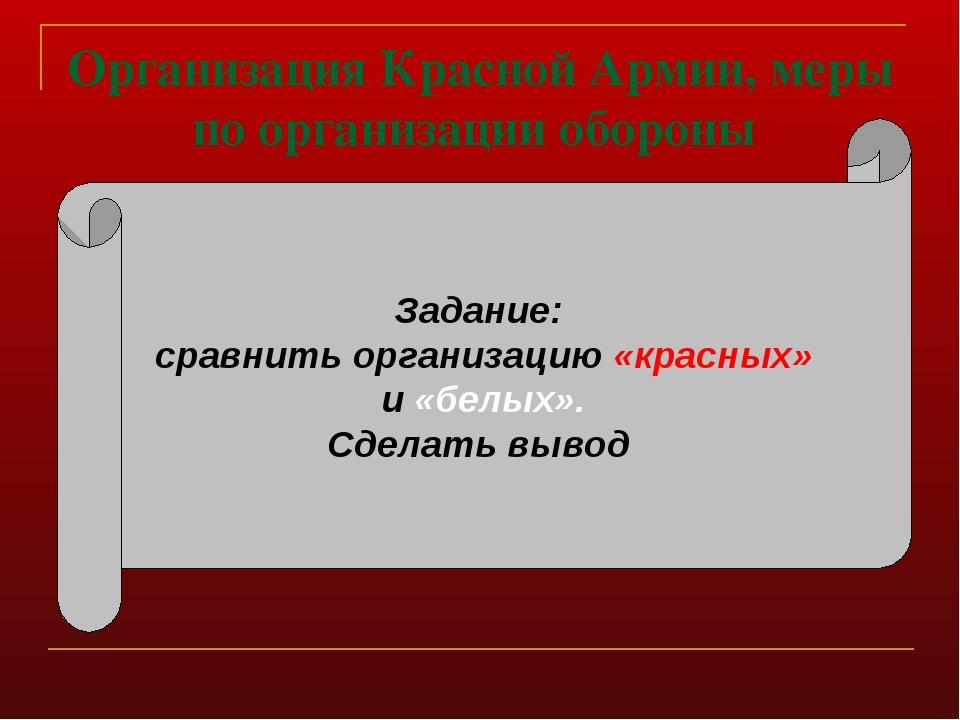 Организация Красной Армии, меры по организации обороны Задание: сравнить орга...