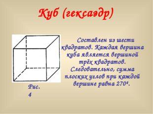 Составлен из шести квадратов. Каждая вершина куба является вершиной трёх ква