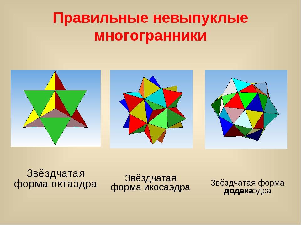 Правильные невыпуклые многогранники Звёздчатая форма октаэдра Звёздчатая форм...