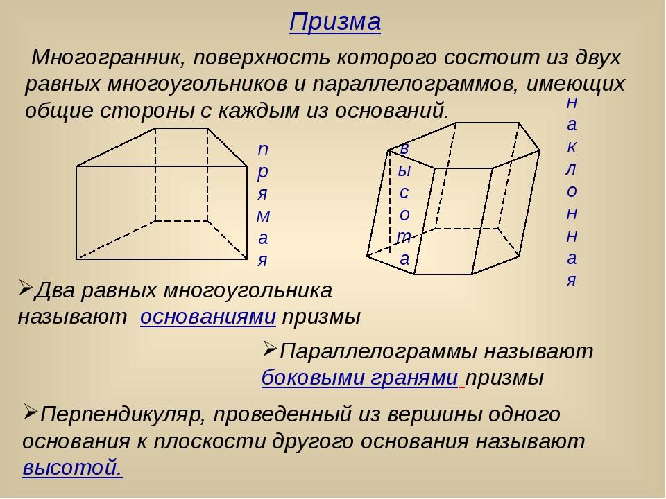 Многогранник, поверхность которого состоит из двух равных многоугольников и...