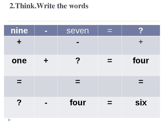 2.Think.Write the words nine - seven = ? + - + one + ? = four = = = ? - four...