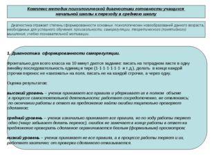 Комплекс методик психологической диагностики готовности учащихся начальной шк