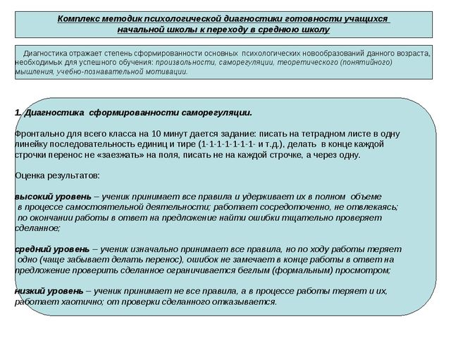 Комплекс методик психологической диагностики готовности учащихся начальной шк...