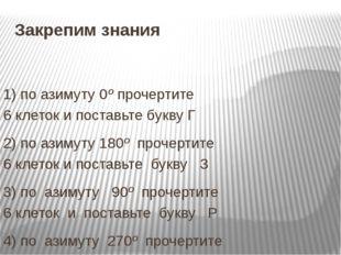 Закрепим знания 1) поазимуту0ºпрочертите 6клетокипоставьтебуквуГ 2) п