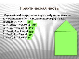 Нарисуйте фигуру, используя следующие данные: 1. Направление (Н) – СВ, расст