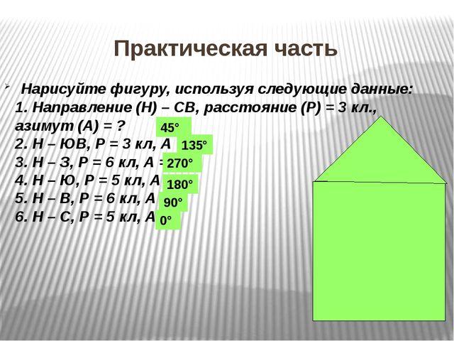 Нарисуйте фигуру, используя следующие данные: 1. Направление (Н) – СВ, расст...